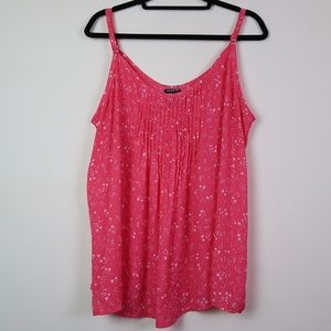 TORRID Pink Floral Tank Top with Ruched Front